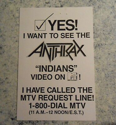 "Anthrax 1987 Indians MTV Request Promo 4"" x 6"" Postcard FREE Shipping"