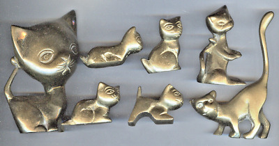 7 Different Solid Brass Cat Figurines