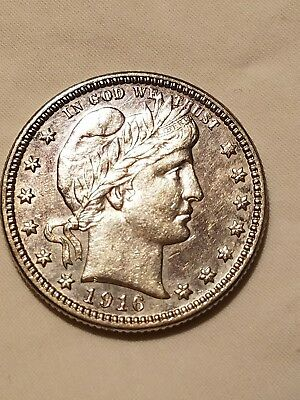 1916 D Barber Quarter! Last Year Issue! Au+++ No Reserve
