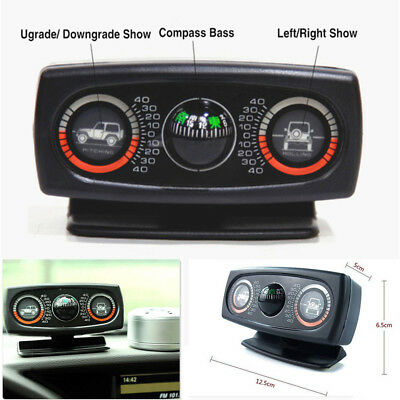 Multifunction Car Compass 3in1 Inclinometer Angle Slope Level Meter Safe Drive