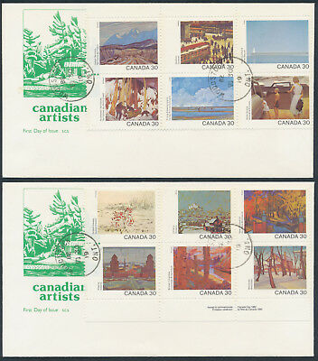 1982 #955-966 Canada Day - Canadian Artists Set On 2 FDCs, SCS Cachet, Woodstock