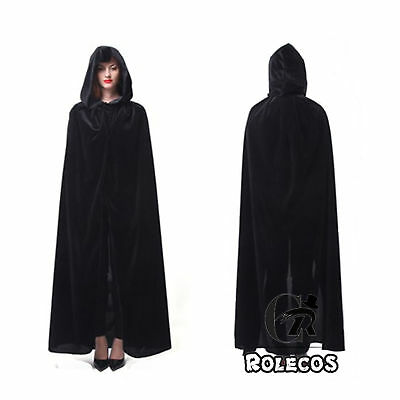 Velvet Hooded Black Cloak Wicca Robe Medieval Witchcraft Larp Cape XXL Cosplay