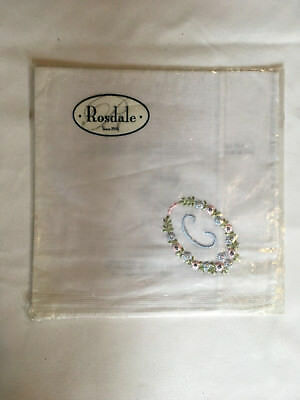 Monogrammed Handkerchief with blue letter C in floral wreath. new in packet