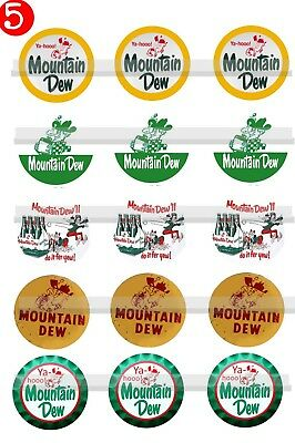 Mountain Dew Logos Vintage Soda 15 Precut Bottle cap Images Magnets Jewelry