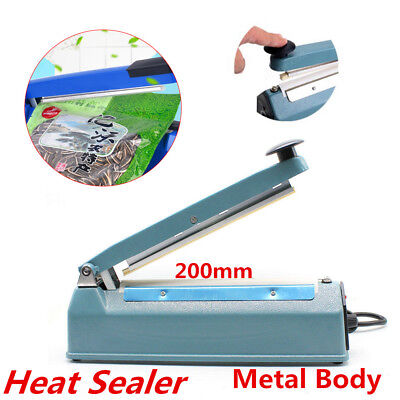 Heat Sealer Plastic Poly Bag Films Sealing Machine Aluminum Metal Body 8'' 200mm