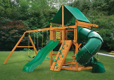 Gorilla Playset Mountaineer With Amber Posts Green Vinyl Canopy