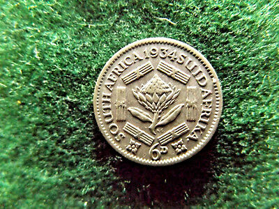 South Africa 1934 Silver Sixpence