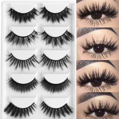 5 Pairs Natural 3D Soft Mink Hair False Eyelashes Wispy Fluffy Long Lashes New