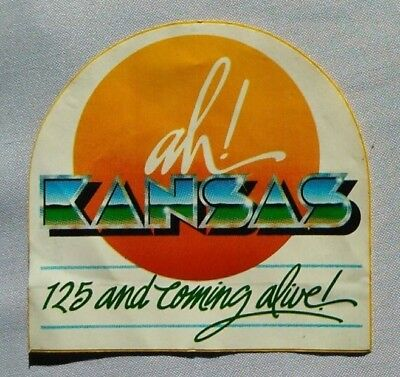"""Vintage """"ah! Kansas 125 And Coming Alive!"""" State Decal Sticker Unused 4"""" X 4"""""""