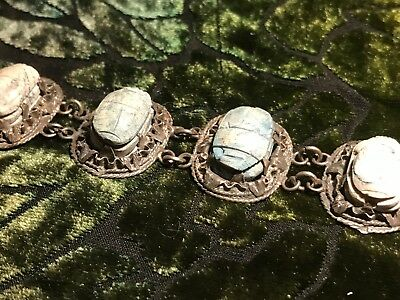 ANTIQUE EGYPTIAN SCARABS BRACELET with INTAGLIO REVERSE TURQUOISE FAIENCE