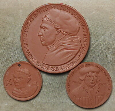 3 Martin Luther 450th Anniversary Of The 1517-1967 Reformation Maroon Porcelain