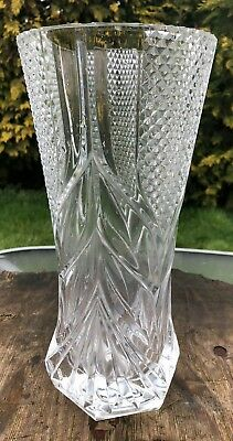 Beautiful Antique Vintage Large Tall Cut Glass Vase