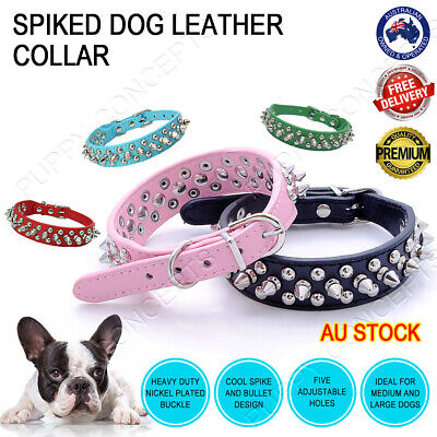 Adjustable Leather Collar Fashion Spike Rivet Studded Large Pet Dog Puppy 3cm