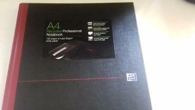 Brand New Black N Red Oxford A4 Casebound Hardback Notebook Ruled 192 Pages
