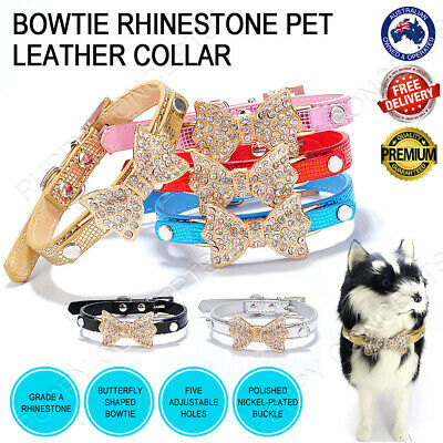 Leather Collar Fashion Bling Rhinestone Bowtie Butterfly Adjustable Pet Dog Cat