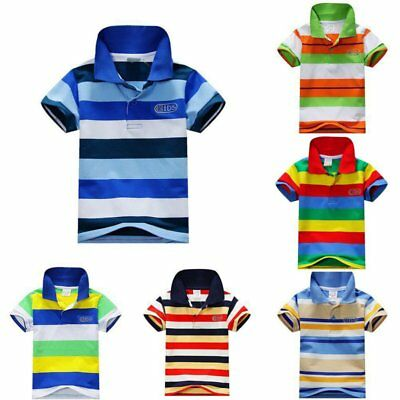 US Baby Kids Colorful Stripe T-Shirt Tops Boy Girls Short Sleeve Collar Tee Tops