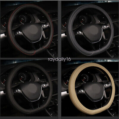 "38cm15""D type flat bottom motile car steering wheel cover PU leather streamline"