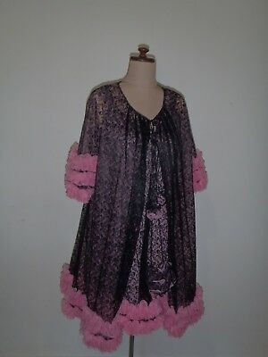 VINTAGE LINGERIE SET, NEGLIGEE, BABYDOLL, 1950s 1960s, PINK & BLACK LACE. RARE