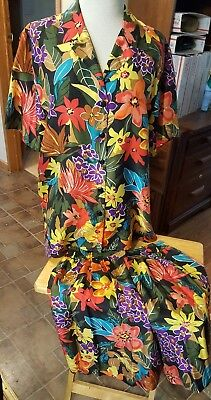 Options by Melrose 100% silk button down short set floral size medium multi colo