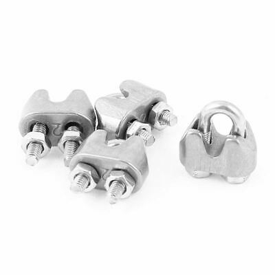 4pcs 2mm Stainless Steel Wire Rope Cable Clamp Fastener Silver T9B1N