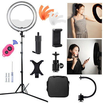 19'' Fluorescent Ring Light Dimmable 5500K Continuous Lighting Photo Video Kit