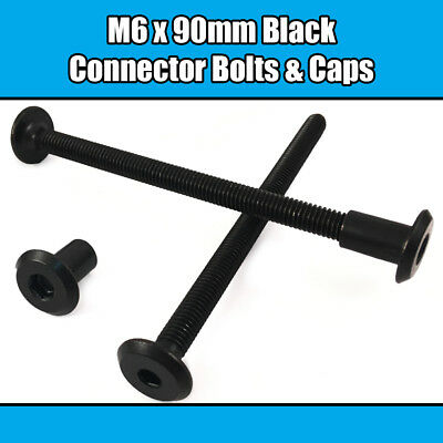M6 x 90mm Black Furniture Connector Bolts With Cap Nuts Joint Fixing Bed Cot