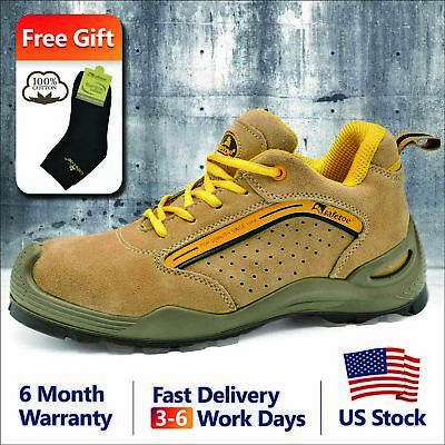 Safetoe L-7296 Safety Shoes Mens Work Boots Steel Toe Leather Breathable US Size