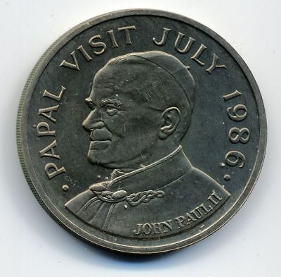 St. Lucia 5 Dollar Papstbesuch 1986 st KN