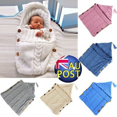 Newborn Baby Infant Knit Crochet Swaddle Wrap Swaddling Blanket Sleeping Bag ER