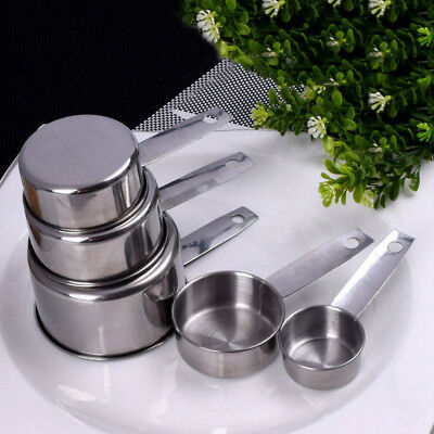 5pcs Durable Stainless Steel Measuring Cups Spoons Set Kitchen Cooking Tools Hot