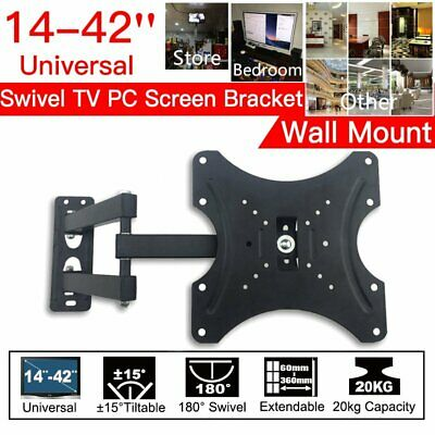 TV Wall Bracket Mount Extendable Corner Unit Swivel Monitor CCTV 14 27 32 42 in.