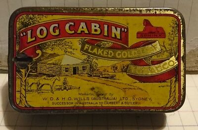 Vintage Log Cabin Tobacco Tin with rare cutter top/Knife lid.