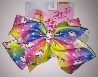 "JoJo Bow AUTHENTIC Jojo Siwa Signature Hair Bow Large 8""Unicorn stars rainbow 🌈"