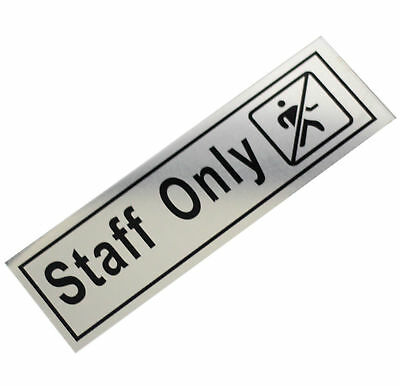 Aluminium Door STAFF ONLY Self Adhesive Sticker Signs 60mm x 200mm