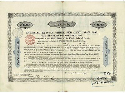 Imperial Russian Three Per Cent Loan 1859 - £ 100 Great Book of the Public Debt