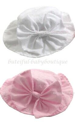 Baby Girls Spanish Style Broderie Anglaise Large Bow Sun Hat Bonnet