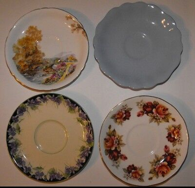 4 Vintage English China Saucers * Royal Doulton Shelley J & G Meakin Queen Anne