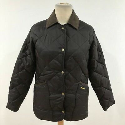 BARBOUR Brown Quilted Dales Liddesdale Zip Front Jacket Womens Size UK L 9193