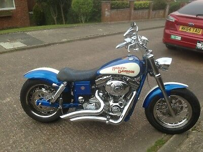 harley davidson motorcycle bobber style 1450cc dyna glide, fully customed 2001