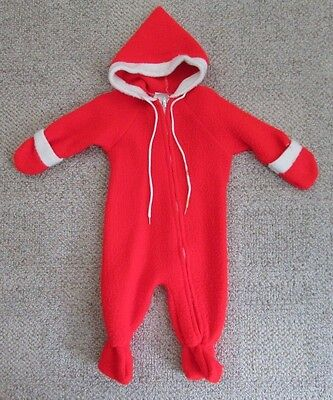 Vintage Sears Baby One Piece Zip Up Red Santa Holiday