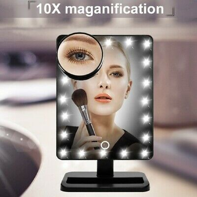 Makeup Vanity Mirror Swivel Touch 20 LED Light 10x Magnifying Pocket Mirror