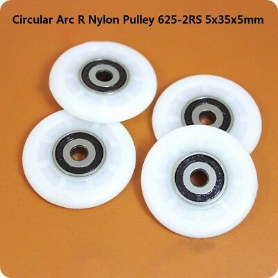 Arc R Nylon Plastic Pulley Wheel  625-2RS Deep Groove Ball Bearing  5x35x5mm