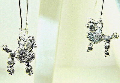"New  Wonderful two-sided POODLE Puppy Dog Silver-tone Dangle Earrings 1.33"" long"