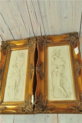 """Pair of Fairy Plaques Pictures Carved Marble In Gilt Frames 9x17"""" Art Decorative"""