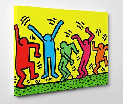⭐️ Quadro Keith Haring The Dancers Stampa su Tela Canvas Vernice Pennellate ⭐️