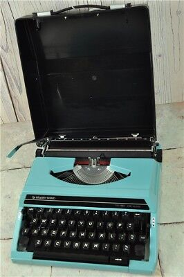 SILVER REED TYPEWRITER Blue In Hard-Shell Case | Good Condition Untested