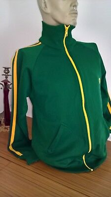 Vintage 80s 90s Green and yellow twin stripes track suit jacket Size L