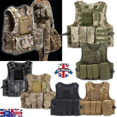 Adjustable Tactical Military Airsoft Molle Combat Vest Paintball Army Waistcoat