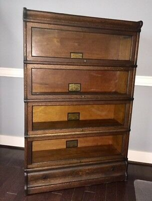 Antique Globe Wernicke 4 Stack Barrister Bookcase w/ Drawer base