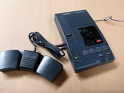 Sony M-2020 Micro Cassette Dictator Transcriber w AC Adapter adaptor Foot Pedal